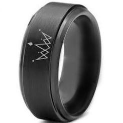 COI Black Tungsten Carbide King Crown Step Edges Ring-TG891