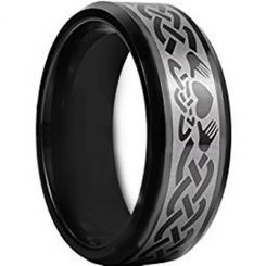 COI Black Tungsten Carbide Mo Anam Cara Celtic Ring-TG956