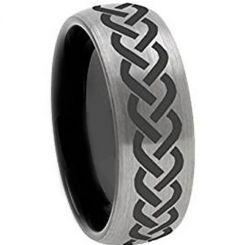 COI Titanium Black Silver Celtic Dome Court Ring-972