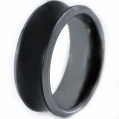 COI Titanium Black Silver Concave Ring-2215
