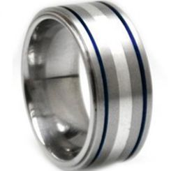 *COI Titanium Blue Silver Center Line Double Grooves Ring - JT1073