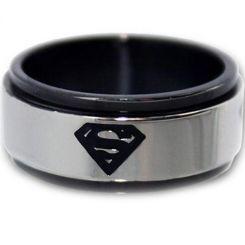 *COI Titanium Black Silver Superman Step Edges Ring-JT1088A