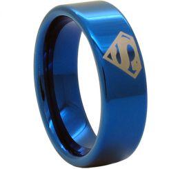 COI Blue Titanium SuperMan Pipe Cut Flat Ring-JT1093AA