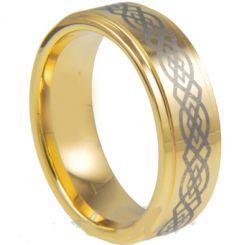 COI Gold Tone Titanium Celtic Step Edges Ring-JT1139