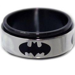 *COI Titanium Black Silver Batman Step Edges Ring-JT1156A