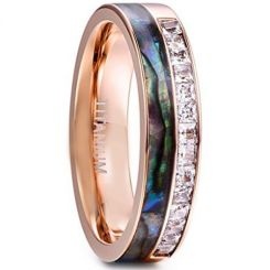 COI Rose Titanium Ring With Abalone Shell & Cubic Zirconia-1336