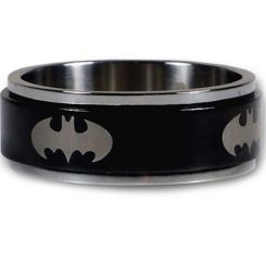 *COI Titanium Black Silver Batman Step Edges Ring-JT1438A