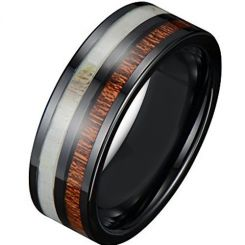 *COI Black Titanium Deer Antler & Wood Pipe Cut Flat Ring-1598