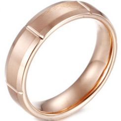 COI Rose Titanium Horizontal Grooves Ring - JT1955AA