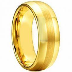 COI Gold Tone Titanium Center Line Dome Court Ring-JT1975AA