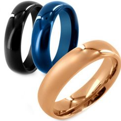 COI Titanium Black/Rose/Blue Dome Court Ring - JT2147
