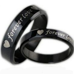 COI Black Titanium Forever Love Heart Beveled Edges Ring-JT2150