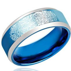 COI Tungsten Carbide Ring With Custom Fingerprint-TG2187