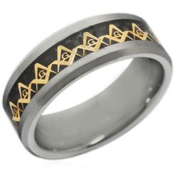 COI Tungsten Carbide Gold Tone Masonic Carbon Fiber Ring-TG2381