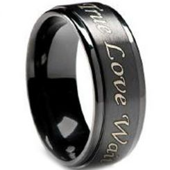 COI Black Titanium Step Edges Ring with Custom Engraving-JT2569