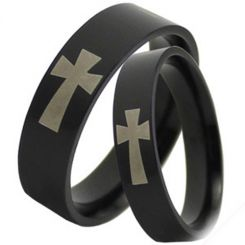 COI Black Titanium Cross Pipe Cut Flat Ring-JT2790