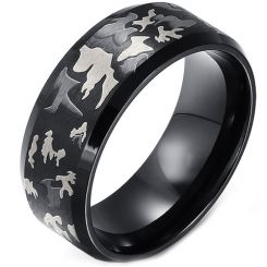 COI Black Titanium Camo Pattern Beveled Edges Ring - JT2812