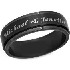 COI Black Titanium Step Edges Ring With Custom Engraving-JT2975
