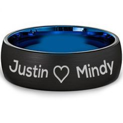 COI Titanium Black Blue Custom Engraving Dome Court Ring-JT3060A