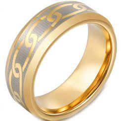 COI Gold Tone Titanium Celtic Beveled Edges Ring-JT3149
