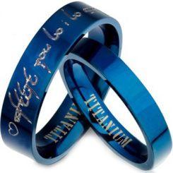 COI Blue Titanium Pipe Cut Flat Ring With Custom Engraving-JT3204