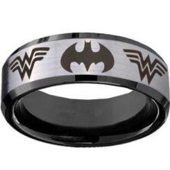 *COI Titanium Batman & Wonder Woman Beveled Edges Ring-JT3234