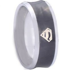 COI Titanium Black Silver Concave Superman Ring-3349