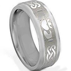 COI Tungsten Carbide Mo Anam Cara Celtic Beveled Edges Ring-3534