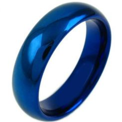 COI Blue Titanium Dome Court Wedding Band Ring-3635