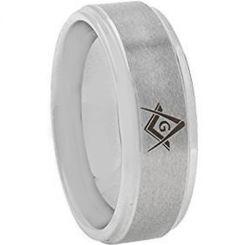 *COI Titanium Masonic Step Edges Ring-2774