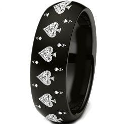 COI Black Titanium Aces of Spades Dome Court Ring - JT3814