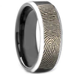 COI Tungsten Carbide Custom Fingerprint Beveled Edge Ring-TG3972