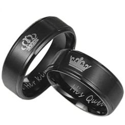 COI Black Titanium King Queen Crown Step Edges Ring-JT4019