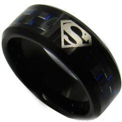 COI Black Titanium SuperMan Carbon Fiber Ring-JT430AA