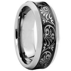 COI Titanium Black Silver Concave Tribal Pattern Ring-JT5010