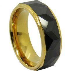 COI Titanium Black Gold Tone Faceted Ring-JT5019