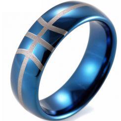 COI Blue Titanium Baseball Dome Court Ring-JT5026