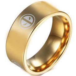 COI Gold Tone Titanium Deadpool Pipe Cut Flat Ring-JT5027