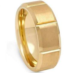 COI Gold Tone Titanium Horizontal Grooves Ring-JT5028
