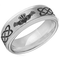 *COI Titanium Mo Anam Cara Celtic Step Edges Ring-JT5049