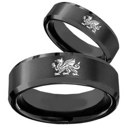 COI Black Titanium Dragon Beveled Edges Ring-JT5051