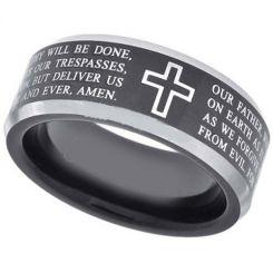 *COI Titanium Black Silver Cross Scripture Ring-JT5054
