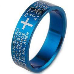 COI Blue Titanium Cross Scripture Pipe Cut Flat Ring-JT5055