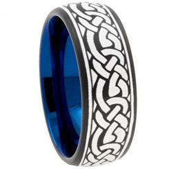 COI Tungsten Carbide Black Blue Celtic Dome Court Ring-TG3756
