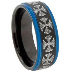 COI Titanium Black Blue Cross Step Edges Ring-JT5058