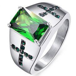 COI Titanium Created Emerald Zirconia Ring-JT5068