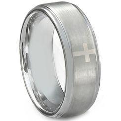 *COI Titanium Cross Step Edges Ring-JT5073