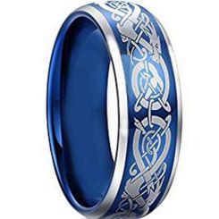 *COI Tungsten Carbide Dragon Beveled Edges Ring-TG4603