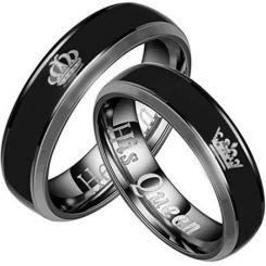*COI Titanium Black Silver King Queen Crown Ring-2094