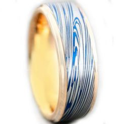 COI Tungsten Carbide Blue Rose Damascus Step Edges Ring-5449